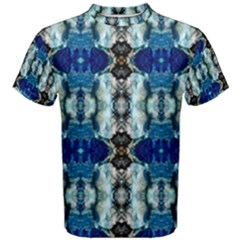 Royal Blue Abstract Pattern Men s Cotton Tees by Costasonlineshop