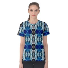 Royal Blue Abstract Pattern Women s Cotton Tee