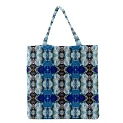 Royal Blue Abstract Pattern Grocery Tote Bags by Costasonlineshop