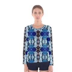 Royal Blue Abstract Pattern Women s Long Sleeve T Shirts