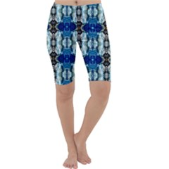 Royal Blue Abstract Pattern Cropped Leggings by Costasonlineshop