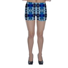 Royal Blue Abstract Pattern Skinny Shorts by Costasonlineshop