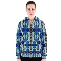 Royal Blue Abstract Pattern Women s Zipper Hoodies