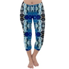 Royal Blue Abstract Pattern Capri Winter Leggings  by Costasonlineshop
