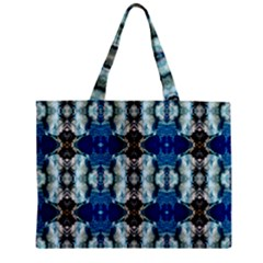 Royal Blue Abstract Pattern Zipper Tiny Tote Bags