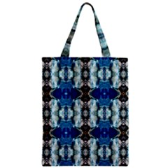 Royal Blue Abstract Pattern Zipper Classic Tote Bags by Costasonlineshop