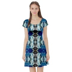 Royal Blue Abstract Pattern Short Sleeve Skater Dresses by Costasonlineshop