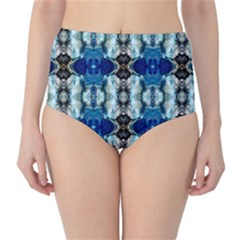 Royal Blue Abstract Pattern High Waist Bikini Bottoms by Costasonlineshop