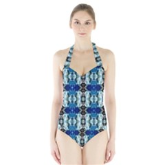 Royal Blue Abstract Pattern Women s Halter One Piece Swimsuit