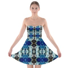 Royal Blue Abstract Pattern Strapless Bra Top Dress by Costasonlineshop
