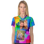 Rainbow Stitch Shirt - Women s V-Neck Sport Mesh Tee