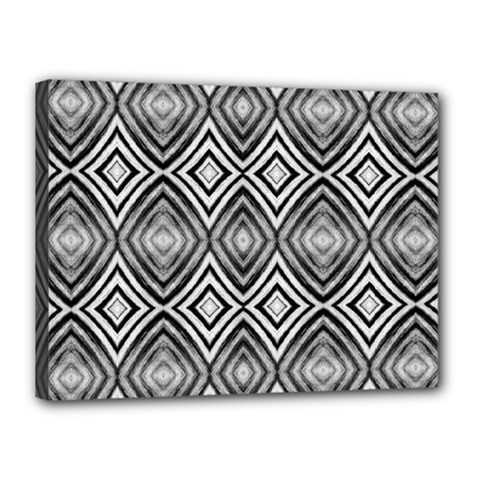 Black White Diamond Pattern Canvas 16  X 12  by Costasonlineshop