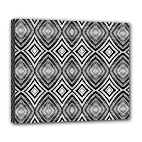 Black White Diamond Pattern Deluxe Canvas 24  X 20