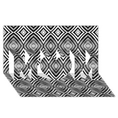 Black White Diamond Pattern Mom 3d Greeting Card (8x4)
