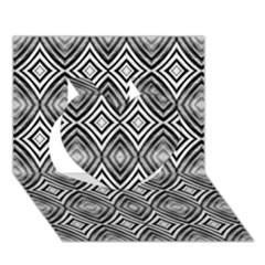 Black White Diamond Pattern Heart 3d Greeting Card (7x5)