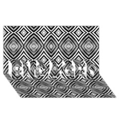 Black White Diamond Pattern Engaged 3d Greeting Card (8x4)