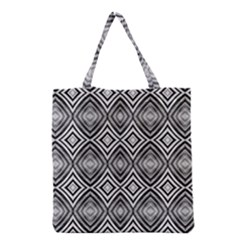 Black White Diamond Pattern Grocery Tote Bags by Costasonlineshop