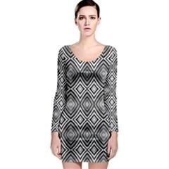Black White Diamond Pattern Long Sleeve Bodycon Dresses