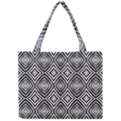 Black White Diamond Pattern Tiny Tote Bags by Costasonlineshop