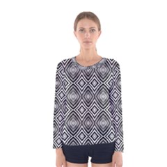 Black White Diamond Pattern Women s Long Sleeve T Shirts by Costasonlineshop