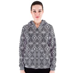 Black White Diamond Pattern Women s Zipper Hoodies by Costasonlineshop