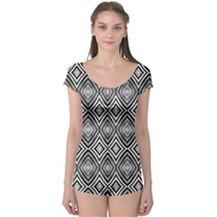 Black White Diamond Pattern Short Sleeve Leotard by Costasonlineshop