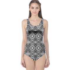 Black White Diamond Pattern One Piece Swimsuit by Costasonlineshop