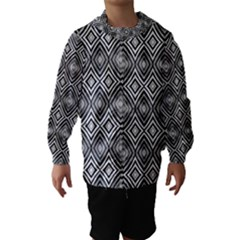 Black White Diamond Pattern Hooded Wind Breaker (kids) by Costasonlineshop