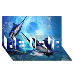 Awersome Marlin In A Fantasy Underwater World Believe 3d Greeting Card (8x4)