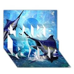 Awersome Marlin In A Fantasy Underwater World Take Care 3d Greeting Card (7x5)