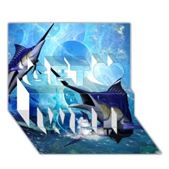 Awersome Marlin In A Fantasy Underwater World Get Well 3d Greeting Card (7x5)  by FantasyWorld7