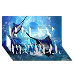 Awersome Marlin In A Fantasy Underwater World Happy New Year 3d Greeting Card (8x4)