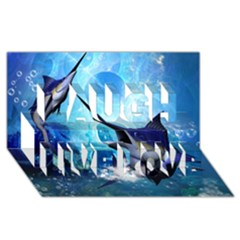 Awersome Marlin In A Fantasy Underwater World Laugh Live Love 3d Greeting Card (8x4)  by FantasyWorld7
