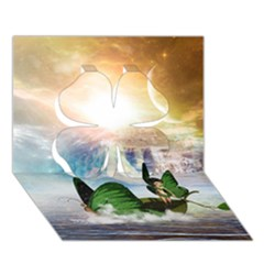 Cute Fairy In A Butterflies Boat In The Night Clover 3d Greeting Card (7x5)  by FantasyWorld7