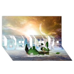 Cute Fairy In A Butterflies Boat In The Night Believe 3d Greeting Card (8x4)