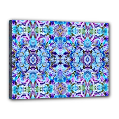 Elegant Turquoise Blue Flower Pattern Canvas 16  X 12