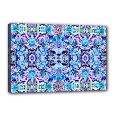 Elegant Turquoise Blue Flower Pattern Canvas 18  X 12