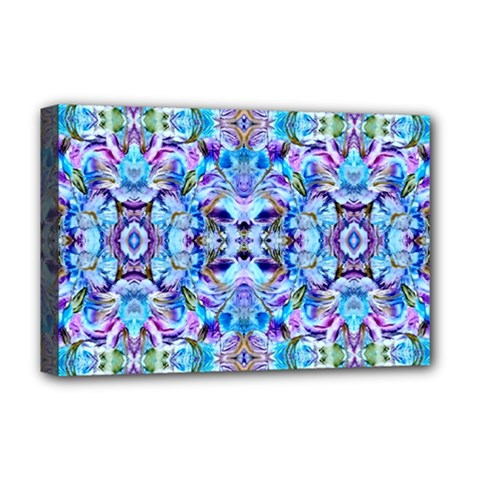Elegant Turquoise Blue Flower Pattern Deluxe Canvas 18  X 12   by Costasonlineshop