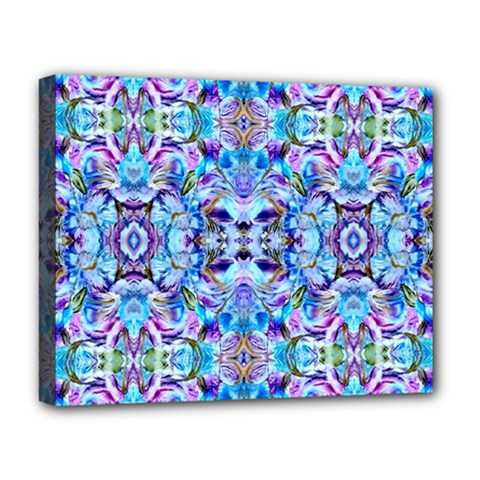 Elegant Turquoise Blue Flower Pattern Deluxe Canvas 20  X 16   by Costasonlineshop