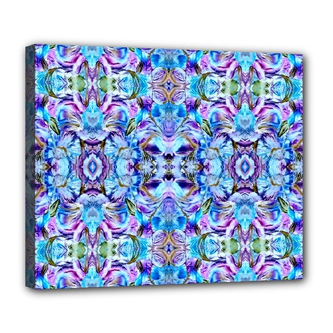 Elegant Turquoise Blue Flower Pattern Deluxe Canvas 24  X 20