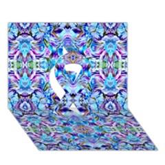 Elegant Turquoise Blue Flower Pattern Ribbon 3d Greeting Card (7x5)  by Costasonlineshop