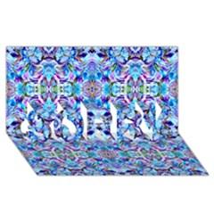 Elegant Turquoise Blue Flower Pattern Sorry 3d Greeting Card (8x4)