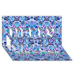 Elegant Turquoise Blue Flower Pattern Merry Xmas 3D Greeting Card (8x4)  by Costasonlineshop