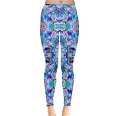 Elegant Turquoise Blue Flower Pattern Women s Leggings by Costasonlineshop