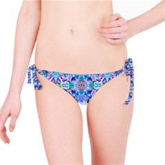 Elegant Turquoise Blue Flower Pattern Bikini Bottoms by Costasonlineshop