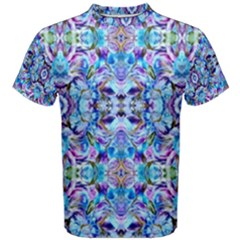 Elegant Turquoise Blue Flower Pattern Men s Cotton Tees by Costasonlineshop