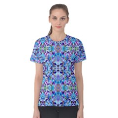 Elegant Turquoise Blue Flower Pattern Women s Cotton Tee by Costasonlineshop