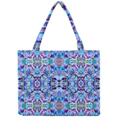 Elegant Turquoise Blue Flower Pattern Tiny Tote Bags by Costasonlineshop