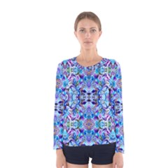Elegant Turquoise Blue Flower Pattern Women s Long Sleeve T Shirts by Costasonlineshop