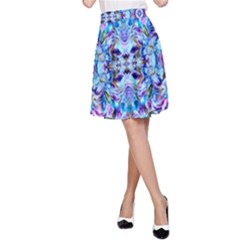 Elegant Turquoise Blue Flower Pattern A Line Skirt by Costasonlineshop
